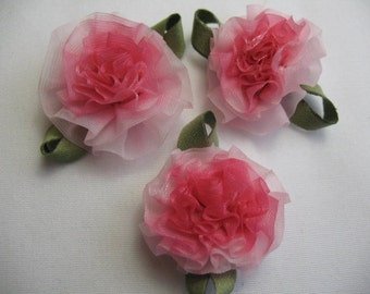 6 - Ribbon pink Flowers appliqe