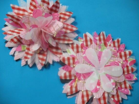 2 multi fabric and denim beautiful FLOWERS