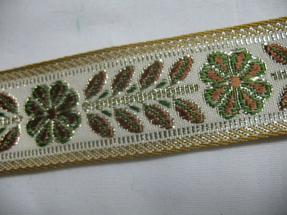 1 yard  STUNNING ribbon embroidered with gold green and brown .