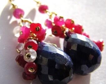 Sale Indian Sapphire Ruby Opalite Gems Gold Earrings. Statement jewelry