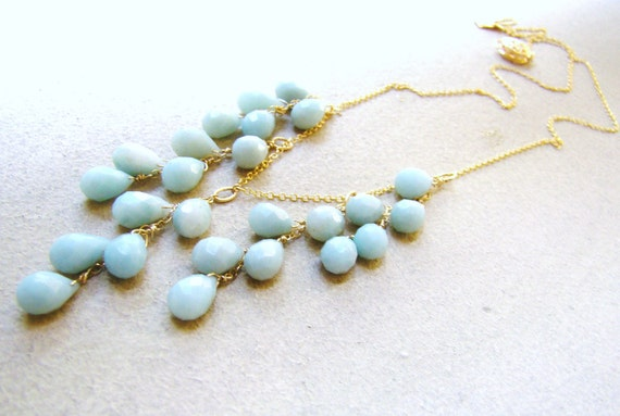 Sale Amazonite Necklace. Gold or Sterling Silver.  Wire Wrapped.  Elegant Jewelry