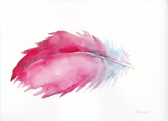 MACAW Feather watercolor card 5x7 inch O.R.I.G.I.N.A.L watercolor FREE SHiPPiNG
