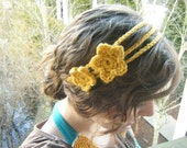 Triple Strand Crocheted Headband - Mustard Yellow