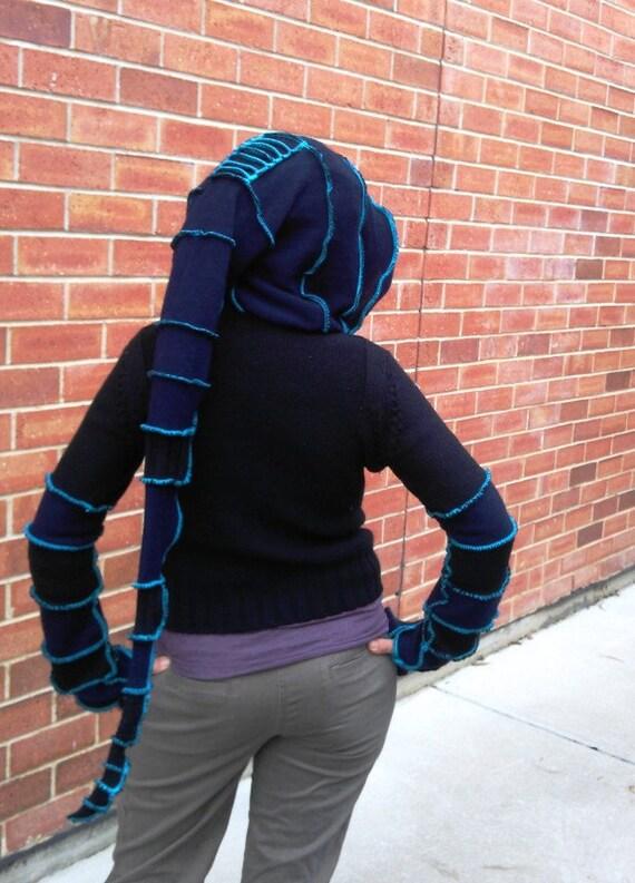 black n blue... eco pixie, elf coat hoodie