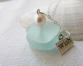 Scottish Sea Beach Glass Stack Necklace Sterling Silver Chain .. SALE 20% OFF