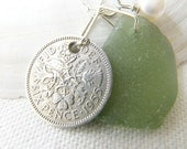 Scottish Sea Glass Green Necklace - 1955 LUCKY SIXPENCE - Bridal Jewelry,  Bridesmaid, Eco Necklace