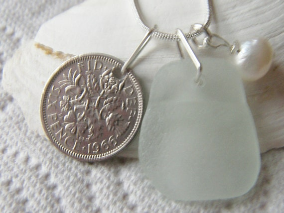 Scottish Sea Glass Necklace - 1966 LUCKY SIXPENCE - Bridal Jewelry Bridesmaid