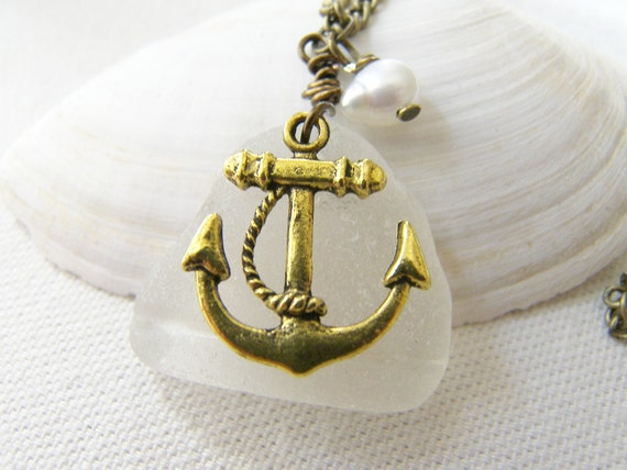 Scottish White  Sea Glass Necklace with Anchor, Nautical Necklace, Eco Friendly