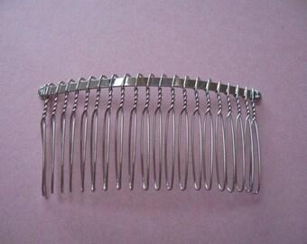 100 pcs silver Iron Hair Combs 39x75mm(20 teeth)