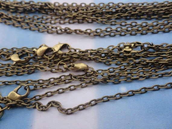 15pcs 2x3mm 18 inch antique bronze chain necklace with lobster clasp