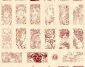 Art Nouveau Rubber Stamp Set Domino Pendant  Size Lady Woman Faces