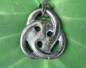 Hand Carved Black Jade Lopsided Swirl Pendant Necklace