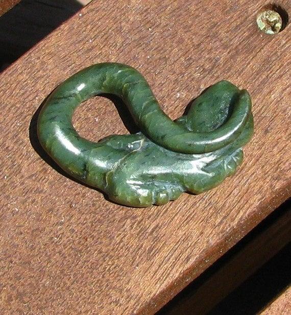Jade Pendant - Hand Carved Big Sur Jade little Lizard Pendant - wearable art