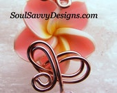 Wire Wrapped Plumeria Flower Pendant w Pink Faceted Crystal