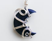 LASSO THE MOON Tagua Wire Wrapped Pendant - Blue Moon