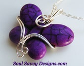 Stone PURPLE BUTTERFLY  Wire Wrapped Pendant