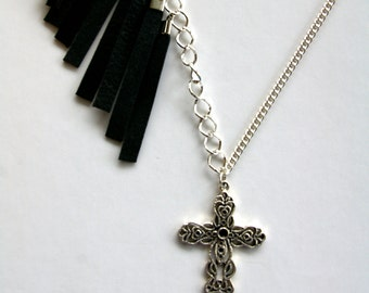 Silver Cross Leather Fringe Necklace