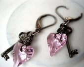 RESERVED listing for VALERIEDEE - Key and Pink Swarovski Heart Earrings Sterling Silver