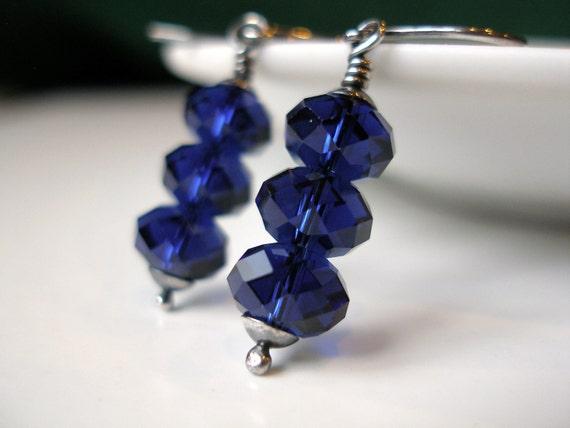 SALE Blue Swarovski Earrings Indigo Blue Oxidized Sterling Silver - Ready to Ship