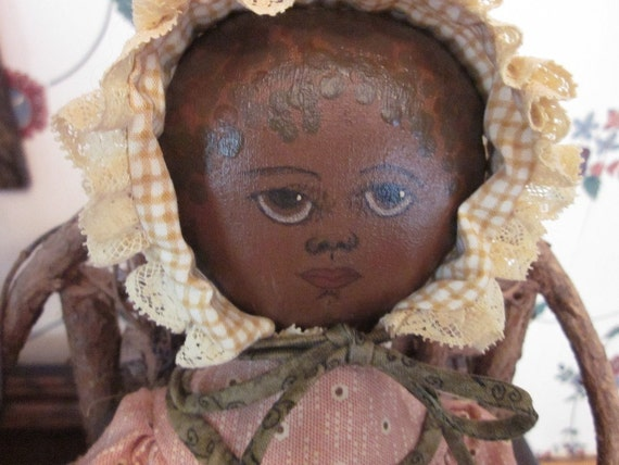Handmade, Cloth, Black, Feedsack Doll from a Gail Wilson Pattern