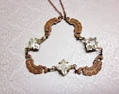 Art Deco Necklace Clear Glass Rhinestones Rose Gold Brass Vintage 1930s Jewelry