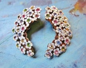 Vintage Rhinestone Earrings Enamel Flowers Pastel HUGE 1950s Jewelry