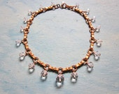 Art Deco Necklace Crystal Glass Beads Gold Bow Link Collar Choker Vintage 1930s Jewelry