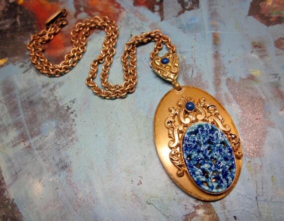 SALE Vintage Necklace Brass Blue Glass Molded Lapis Pendant Art Deco Jewelry 1940s
