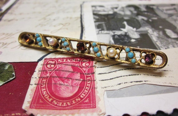 Victorian Revival Brooch Brass Turquoise Amethyst Glass Bar Pin Vintage 1940s Jewelry