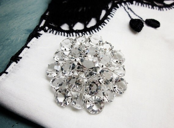 Rhinestone Brooch Open Back Clear Crystal Eight Faceted Rhodium Silver 1940s Vintage Bride Wedding Jewelry