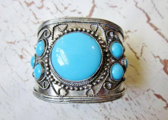 Vintage Bracelet WIDE Silver Chunky Turquoise Blue Glass Ethnic Tribal Cuff