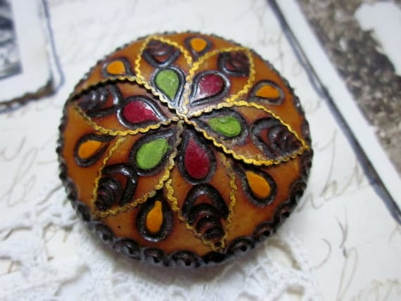 Vintage Brooch Carved Wood Inlaid Brass Hand Painted Folk Art Boho Ethnic Jewelry