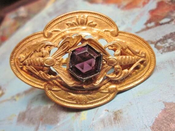 Victorian Brooch Art Nouveau Amethyst Purple Glass Wasps Hornet Bug Vintage 1910s Jewelry