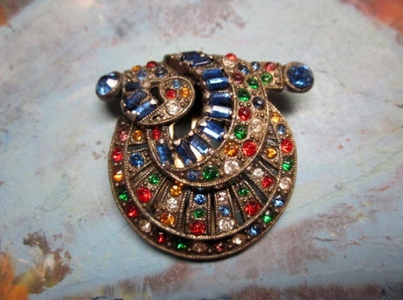 Art Deco Rhinestone Dress Clip Fur Clip Multi Colored Glass Rhinestones Pot Metal Vintage 1930s Jewelry