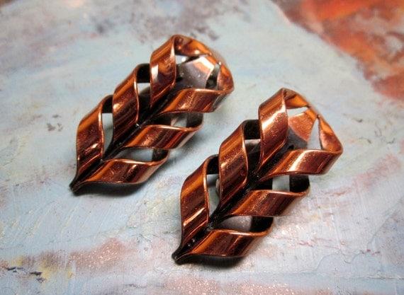 Vintage Earrings Renoir Copper Modernist Flame Mid Century Funky 1960s Jewelry