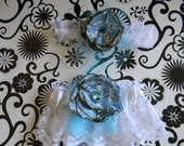 2 Elegant, vintage style white with pattern blue rosette flowers garter with rhinestone accents includes a keepsake and giveaway