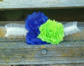 2 rag style Lime and blue Ivory organza garters. One toss and one keepsake.