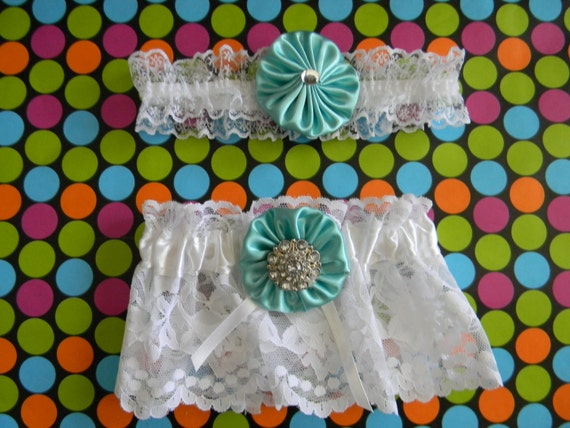 Two Elegant, vintage style white withTiffany blue flowers garter with rhinestone accents
