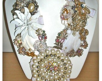 White bead, rhinestone & pearl reworked and upcycled vintage statement necklace - collar bib bridal wedding prom fling