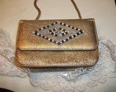 Gold Glitter Metallic PURSE.Art Deco Clutch.silver Appliquay.Gold Lame.Thick Gold Chain.box handbag