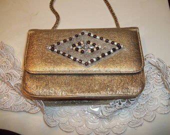 Gold Glitter Metallic PURSE.Art Deco Clutch.silver Appliquay.Gold Lame.Thick Gold Chain.box handbag