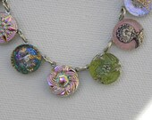 Vintage Glass Buttons  Hand Painted Irridescent  Necklace TREASURY Item DATE NITE