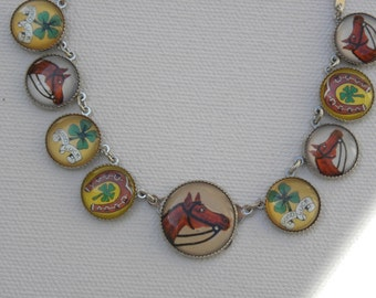 Whimsical BUTTON NECKLACE Lucky In Love Clovers Horse Lovers HorseShoe RODEO time
