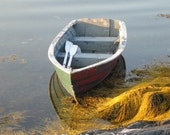 Rowboat with Reflection in water seaweed FINE ART PHOTOGRAPHY for Home Decor child's room