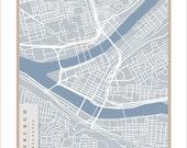 Pittsburgh Street Map - 11x14 print Pittsburgh art wall hanging Pittsburgh print
