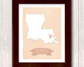 LOUISIANA art print- Family history Home decor - Custom text Wedding gift Bridal shower gift Housewarming gift Larger for wedding guest book