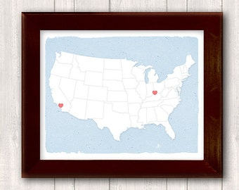 Distant Lovers - Custom - Hearts mark the spots for long distance relationships - 11 x14 print Personalized Home decor