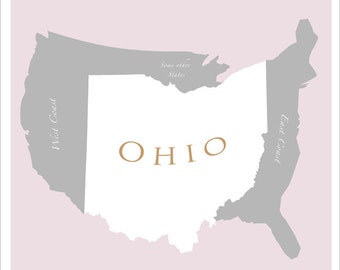 Ohio Map of U.S.  - 11x14 - print