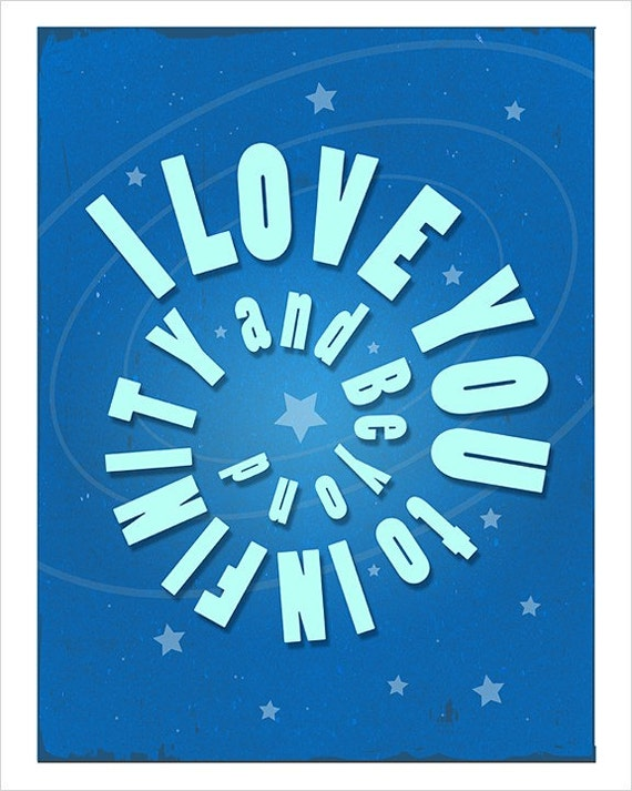 8x10 I Love You to Infinity and Beyond in Blue print