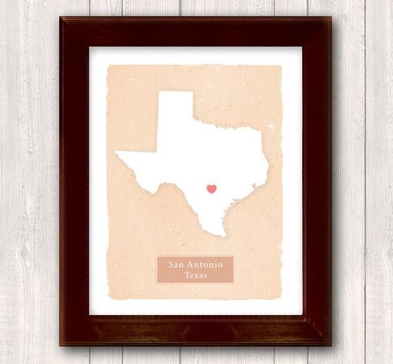 Texas art print family history home decor custom by for Texas home decorations